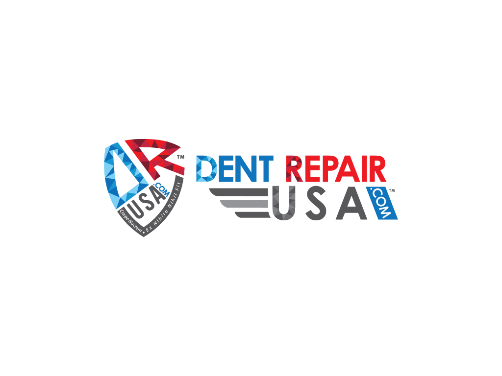 Dent Removal Icon and Dent Repair USA Name Red Grey Blue